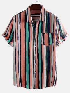 Paint Stripes Print Pocket Patch Shirt - Light Pink L