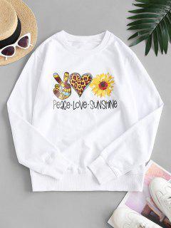 Sweat-shirt Graphique Tournesol Cœur - Blanc S