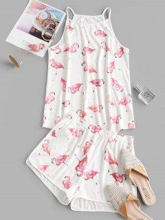Flamingo Print Co Ord Set - White Xl
