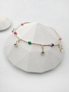 Beads Rhinestone Pendant Anklet - Golden
