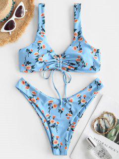 ZAFUL Blumen Bikini Badebekleidung Mit Hohem Schnitt - Hellblau M