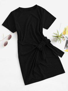 Overlap Tie Short Sleeve Tee Dress - Black M