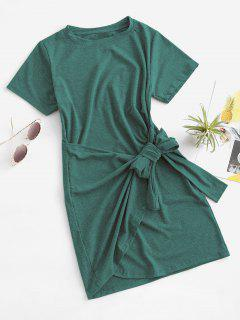 Vestido De Camiseta De Superposición Con Manga Corta - Verde Claro M