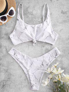 ZAFUL Marble Print Knot High Leg Bikini Swimwear - White M