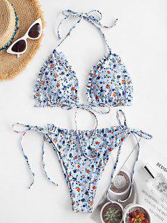 ZAFUL Ditsy Floral Lettuce Trim String Bikini Swimwear - Light Blue M