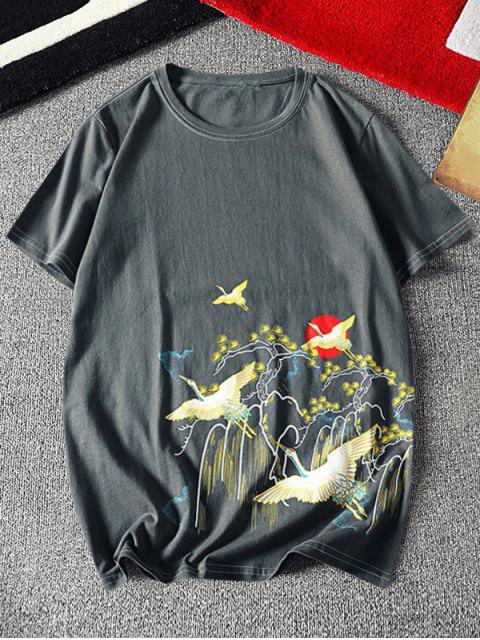 Flying Crane Chinese Paint Print Stitching T-shirt - اللون الرمادي XL Mobile