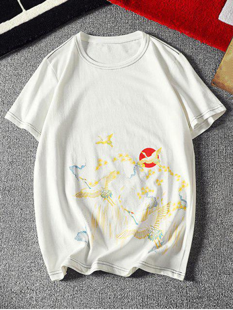 womens Flying Crane Chinese Paint Print Stitching T-shirt - WHITE XS Mobile