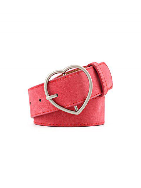 shop Heart Pattern Buckle PU Belt - RED  Mobile