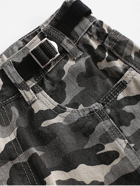 Shorts de Denim con Cremallera con Ribete de Camuflaje - Multicolor M Mobile