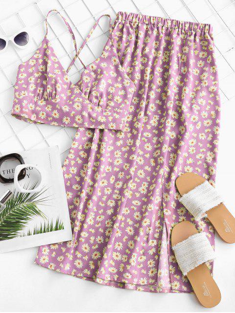 new Daisy Print Tie Back Slit Two Piece Dress - LIGHT PINK XL Mobile