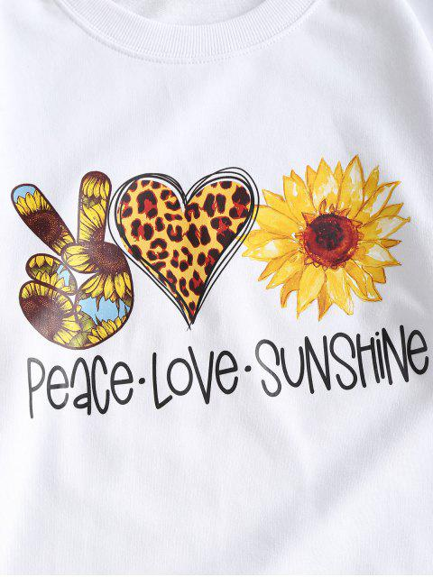 ladies French Terry Sunflower Heart Gesture Graphic Sweatshirt - WHITE S Mobile