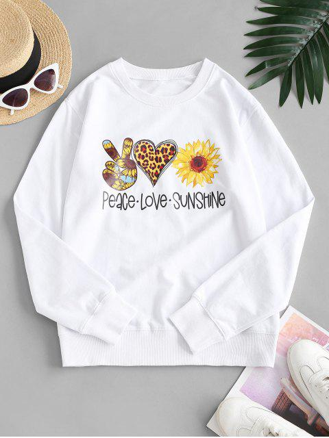 French Terry Sunflower Heart Gesture Graphic Sweatshirt - أبيض M Mobile