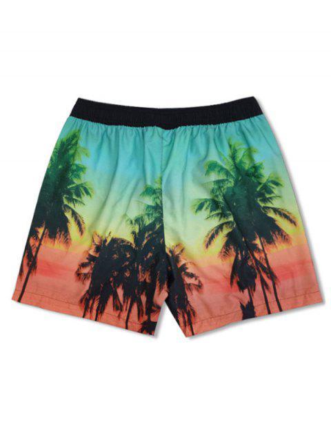 women's Coconut Tree Landscape Print Board Shorts - BLACK M Mobile