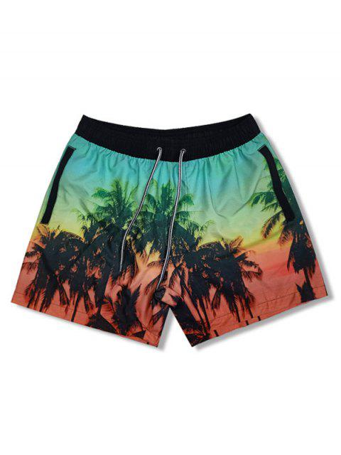 best Coconut Tree Landscape Print Board Shorts - BLACK 2XL Mobile