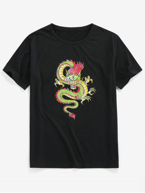 latest ZAFUL Dragon Pattern Basic T-shirt - BLACK 2XL Mobile