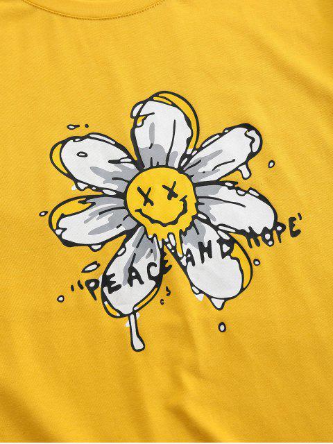 T-Shirt Basic con Stampa a Fiore di ZAFUL - Giallo 2XL Mobile