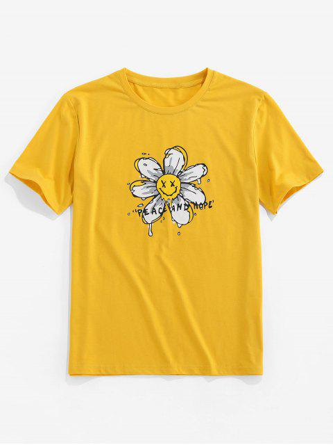 ZAFUL Peace And Hope Flower Print Basic T Shirt - الأصفر 2XL Mobile