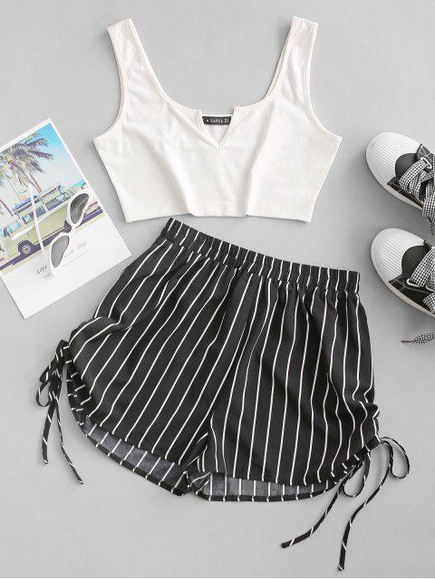 buy ZAFUL Striped V Notch Cinched Tie Two Piece Set - BLACK L Mobile