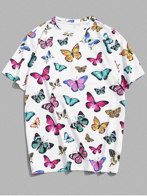 Butterfly Print Vacation T-shirt - أبيض 2XL Mobile