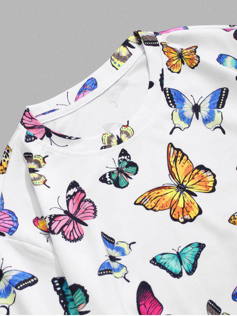 Maglietta con Stampa a Farfalla per Le Vacanze - Bianca 2XL Mobile