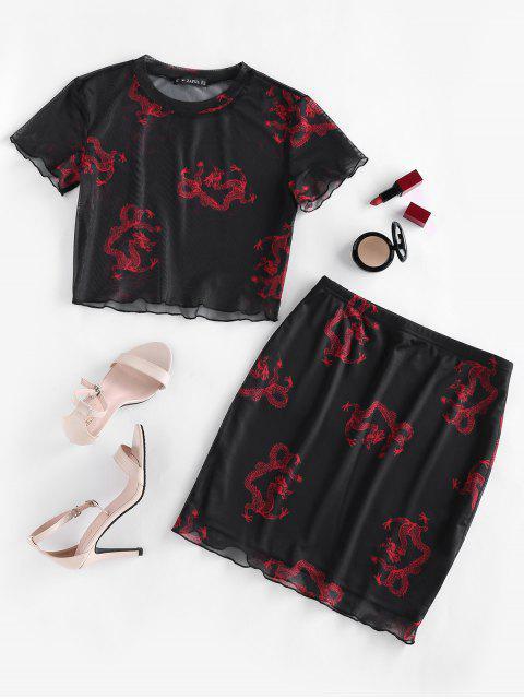 fashion ZAFUL Dragon Print Oriental Mesh Bodycon Skirt Set - BLACK M Mobile