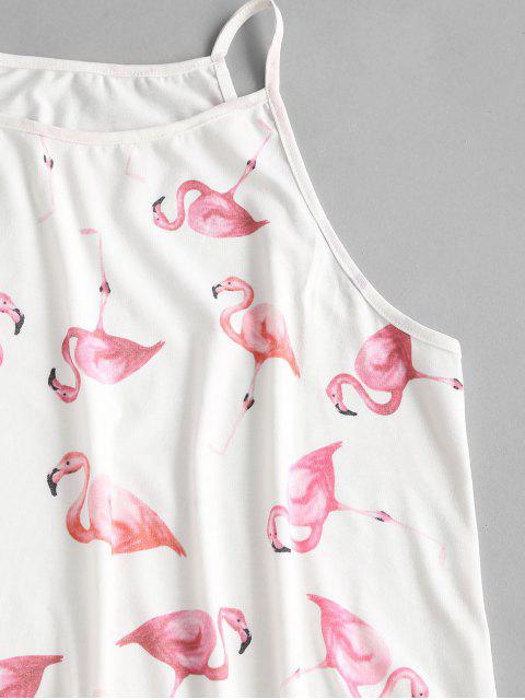 unique Flamingo Print Co Ord Set - WHITE XL Mobile