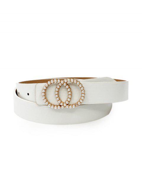 sale Double Circle Faux Pearl Belt - WHITE  Mobile