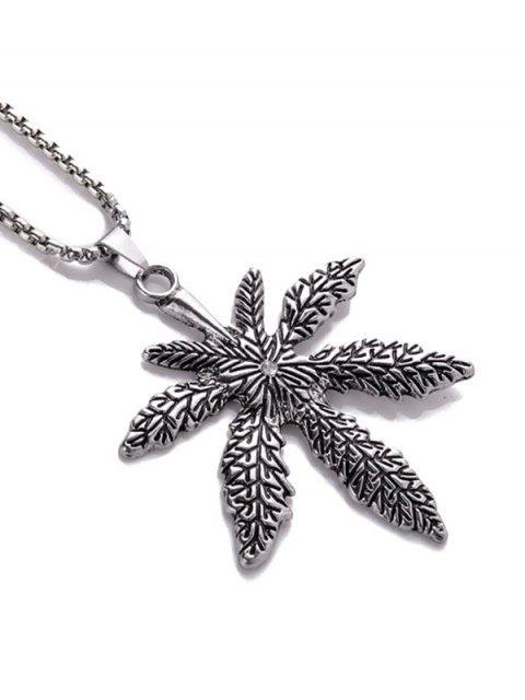 lady Titanium Steel Maple Pendant Necklace - SILVER  Mobile