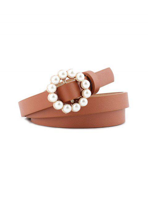 online Faux Pearl Buckle Decorative Waist Belt - LIGHT BROWN  Mobile