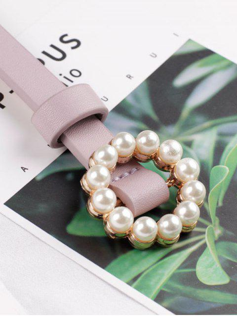 best Faux Pearl Buckle Decorative Waist Belt - PURPLE  Mobile