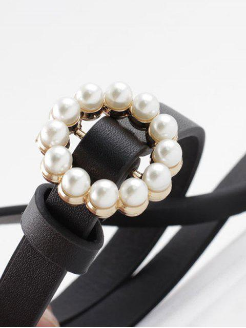 lady Faux Pearl Buckle Decorative Waist Belt - BLACK  Mobile