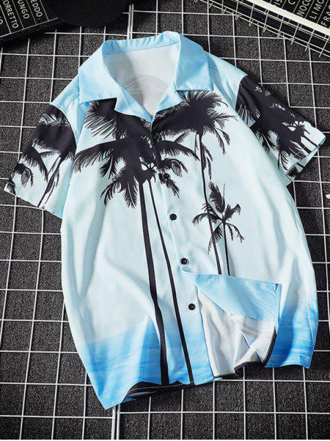 sale Coconut Tree Print Vacation Shirt - DAY SKY BLUE XL Mobile