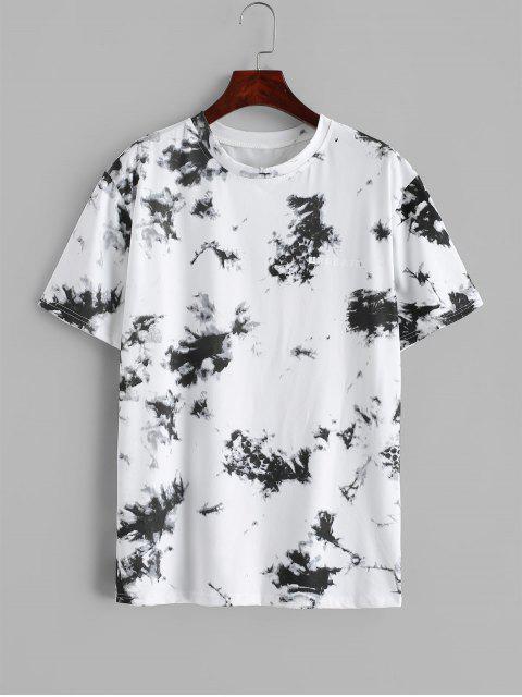 trendy Tie Dye Letter Print Short Sleeve T-shirt - WHITE M Mobile