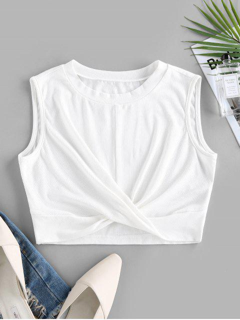 fancy ZAFUL Ribbed Twisted Crop Tank Top - WHITE XL Mobile