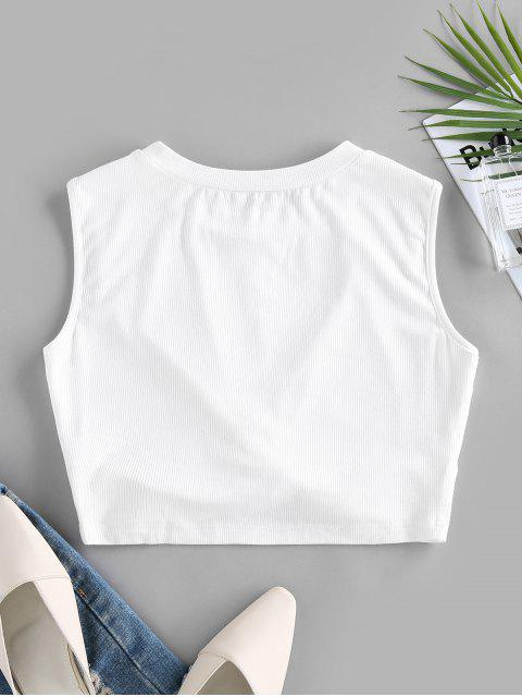 ladies ZAFUL Ribbed Twisted Crop Tank Top - WHITE L Mobile