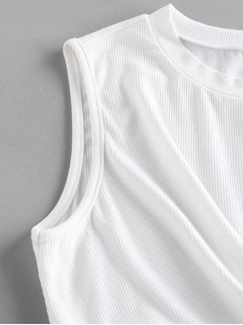 buy ZAFUL Ribbed Twisted Crop Tank Top - WHITE M Mobile