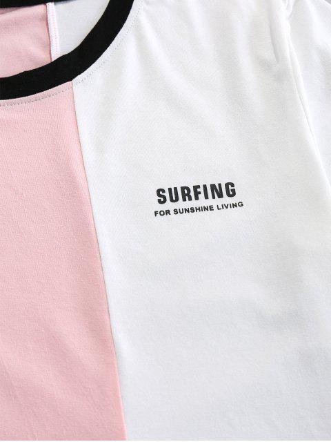 T-Shirt di ZAFUL Stampata Lettere a Contrasto - Blu Chiaro S Mobile