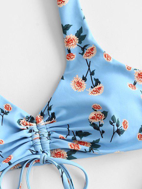 Costume da Bagno Bikini Floreale con Taglio Alto di ZAFUL - Azzurro S Mobile