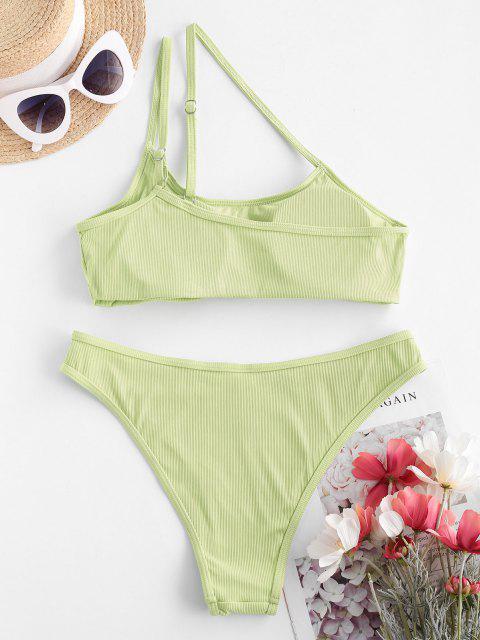 hot ZAFUL Asymmetric To Chicness Ribbed Bikini Swimwear - LIGHT GREEN M Mobile