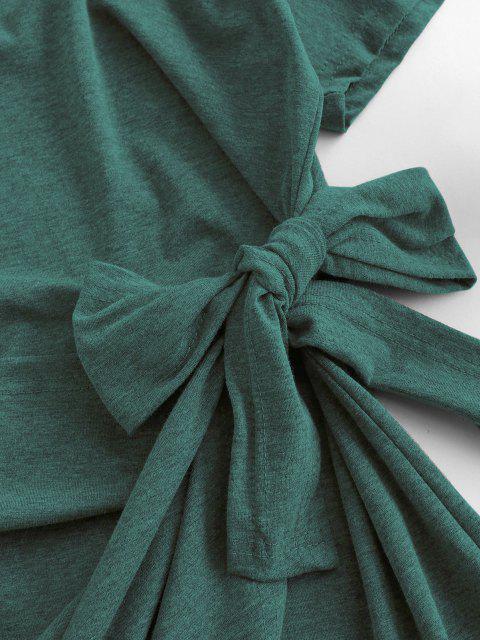 new Overlap Tie Short Sleeve Tee Dress - LIGHT GREEN S Mobile