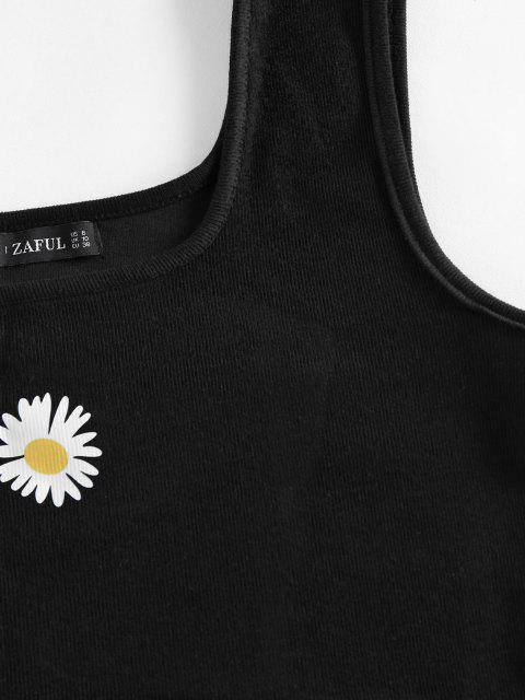 chic ZAFUL Ribbed Daisy Graphic Crop Tank Top - BLACK L Mobile