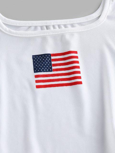 ZAFUL Camiseta Corta con Estampado Patriótico de Bandera de Estados Unidos - Blanco S Mobile