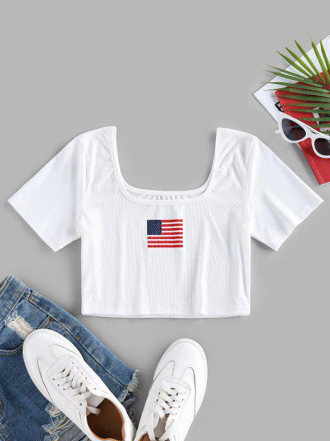 ZAFUL Ribbed Patriotic American Flag Crop T-shirt - أبيض S Mobile