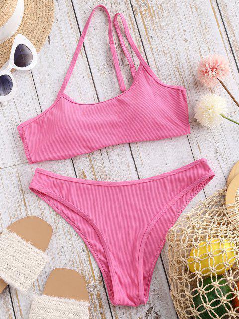 buy ZAFUL Asymmetric To Chicness Ribbed Bikini Swimwear - LIGHT PINK S Mobile