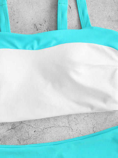 ZAFUL Maillot de Bain Tankini Bicolore à Coupe Haute - Bleu clair XL Mobile