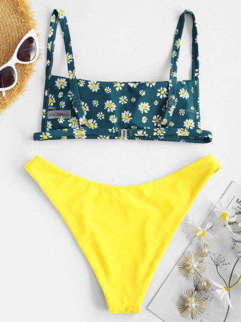 women's ZAFUL Daisy Rose Print Square Bikini Set - YELLOW S Mobile