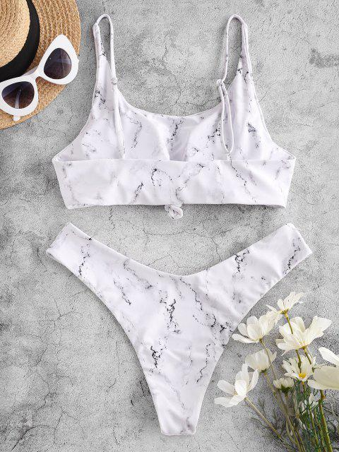 ZAFUL Costume da Bagno Bikini a Gamba Alta con Stampa Marmo - Bianca M Mobile