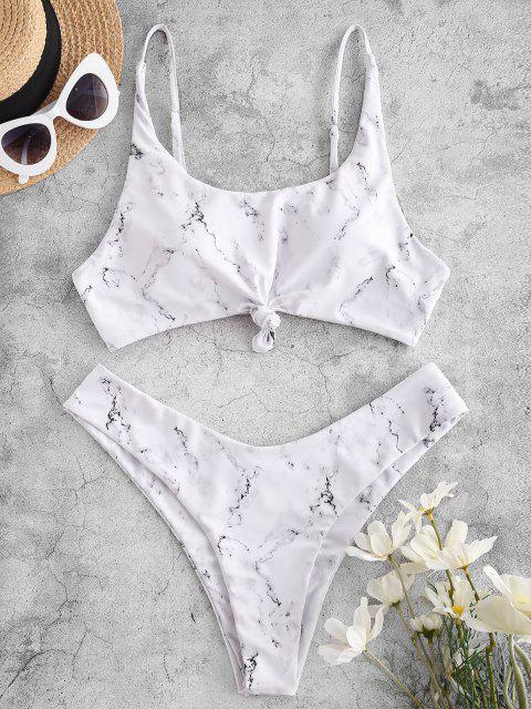 buy ZAFUL Marble Print Knot High Leg Bikini Swimwear - WHITE S Mobile