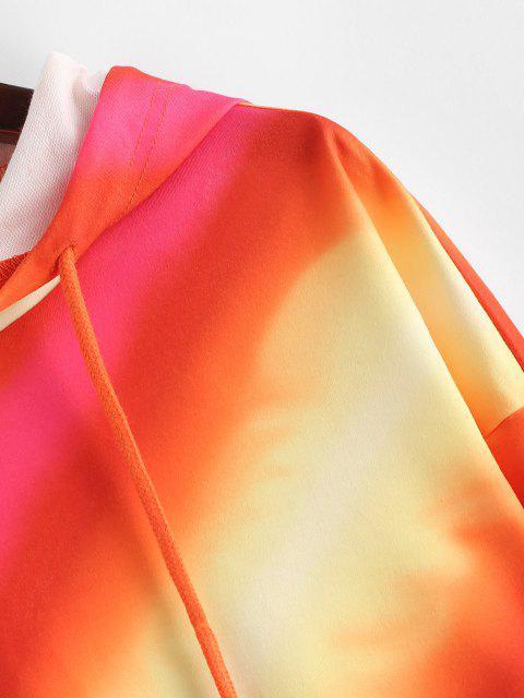 ZAFUL Sudadera con Capucha Recortada con Rayas de Tie Dye - Multicolor M Mobile