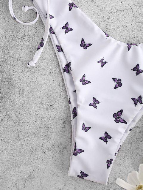 fancy ZAFUL Butterfly Print Side Cinched High Cut Bikini Swimwear - WHITE M Mobile